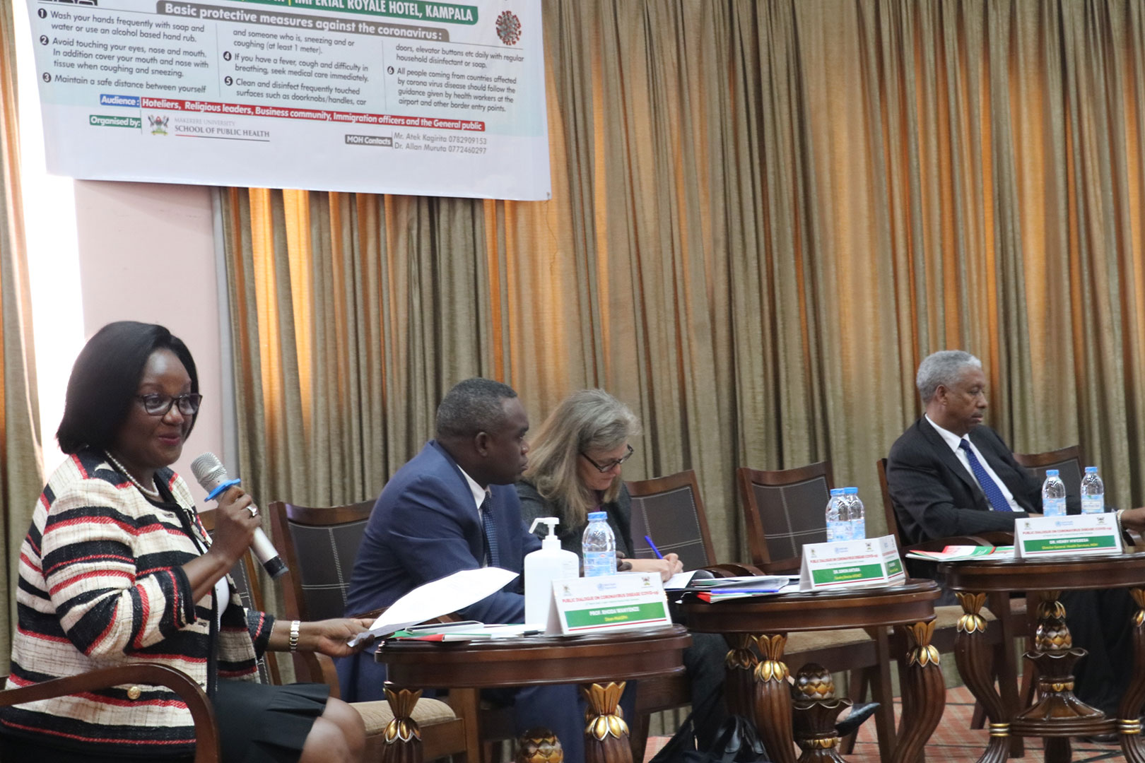 The Dean, MakSPH -Prof,Rhoda Wanyenze , The Director, AFENET-Mr.Simon Antara,  Dr.Lisa Nelson, the US Centres For Disease Control(CDC) Country Director and  Dr. Yonas Tegegn Woldemariam, the World Health Organization-WHO country representative at the Public Dialogue on Friday 13th March, 2020 at the Imperial Royale Hotel