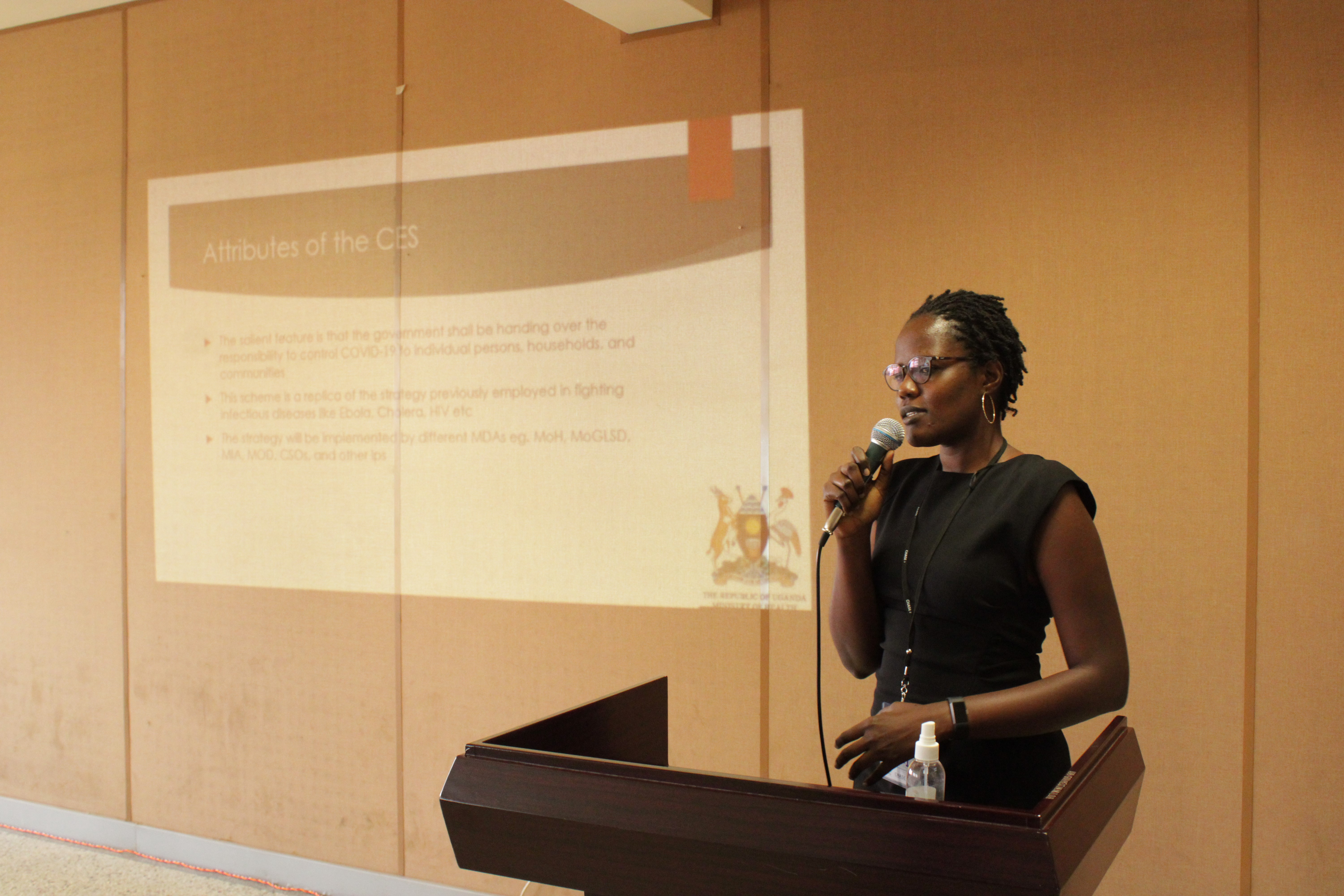 Catherine Nakidde, Co-Investigator on the ALERTs Study, presenting on the National Community Engagement Strategy (CES)
