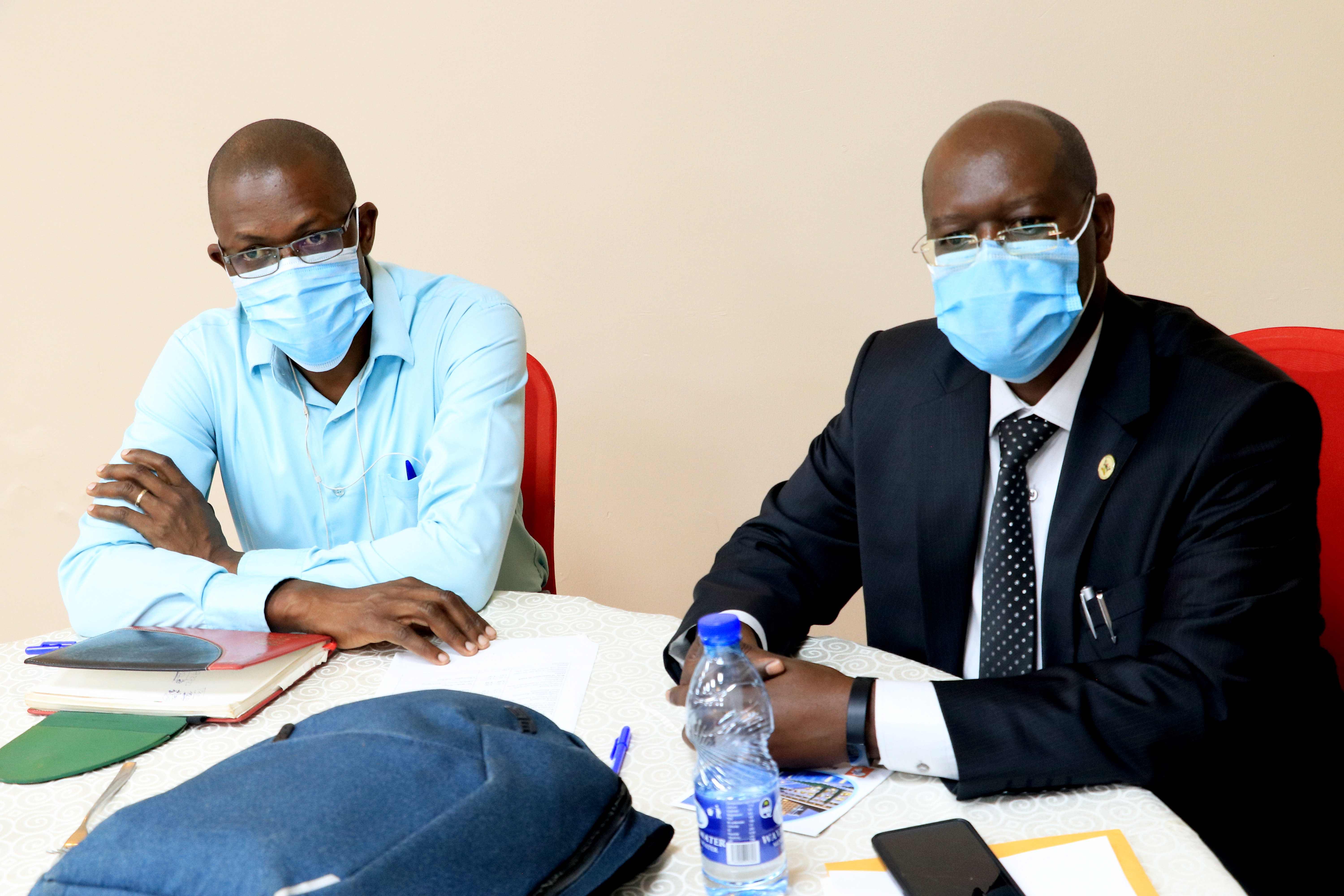 Dr. Lynn Atuyambe, an air quality specialist and associate Professor at Makerere School of Public Health together with MakSPH's research associate Samuel Etajak