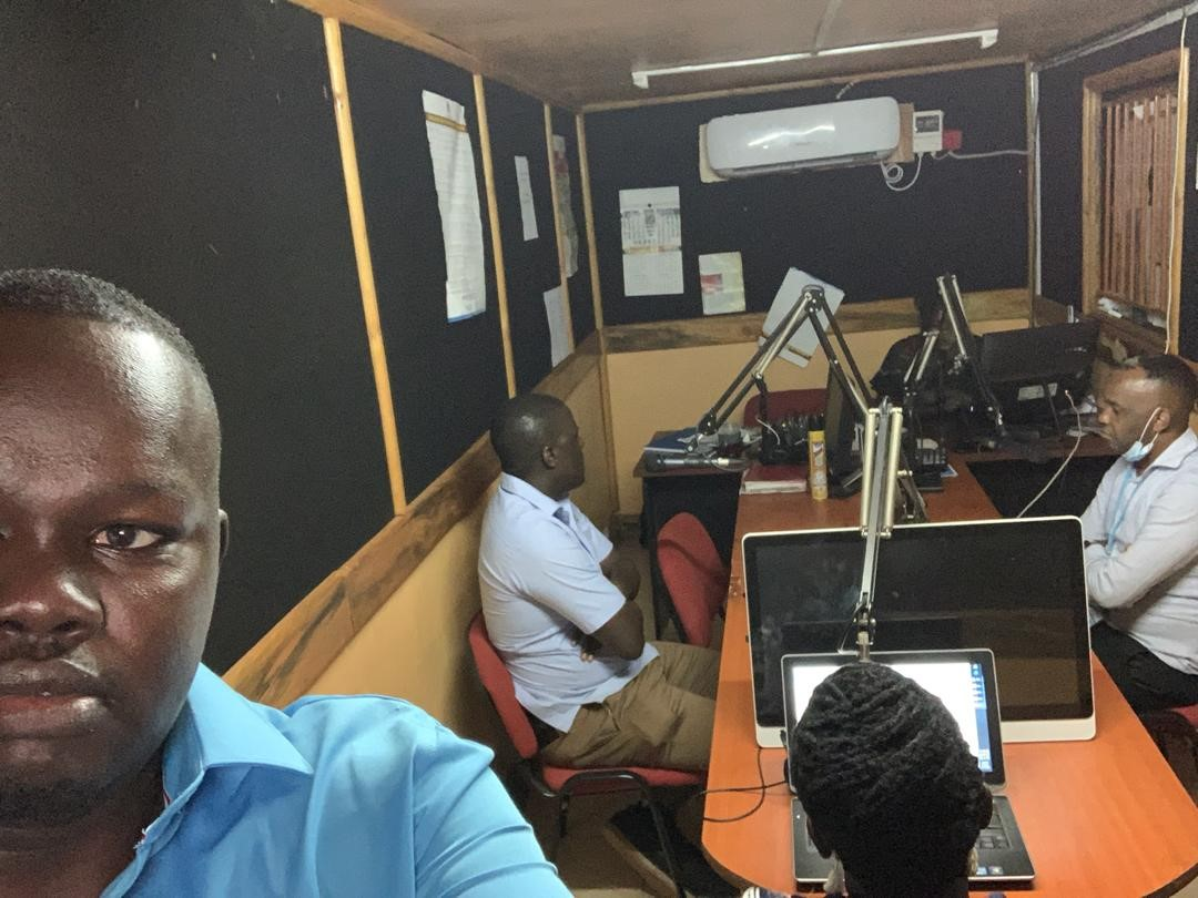 REFLECT Co-Investigators Dr Betty Okot, Andrew Masaba (LWF) and Brian Luswata from the Ministry of Health (MoH) engage the community on radio talk show in Adjumani, West Nile